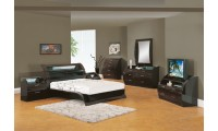 Madison Bedroom Set in Black Zebrano Finish by Global