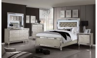 Claudette Bedroom Set in Silver Rose