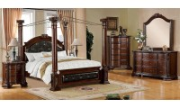 Mandalay Canopy Bedroom Set in Brown Cherry