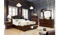 Merida Bedroom Set in Brown Cherry with Storage Bed