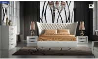 Miami White Bedroom Set Wingback Headboard Bed