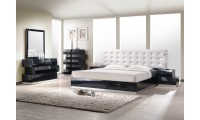 Milan Zig Zag Bedroom Set in Black Lacquer Finish