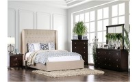 Mira Bedroom Set in Beige with Tall Headboard
