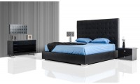 Lyrica Storage Bed with Black Leather Tall Headboard