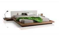Opal Modern Platform Bed in Walnut and White
