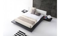 Opal Modern Platform Bed in Wenge and White