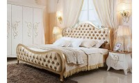 Ravenna Transitional Bed in Beige Tufted Fabric