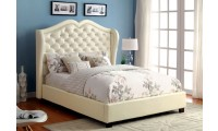 Monroe Platform Bed Set in Ivory Upholstery
