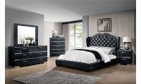 Monroe Bedroom Set in Black Finish