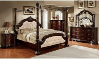 Monte Vista II Canopy Bedroom Set in Cherry and Ivory