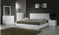 Naples Contemporary White Lacquer Bedroom Set with Platform Bed