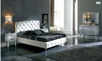 Nelly Modern Bedroom Set in White Leather by Dupen