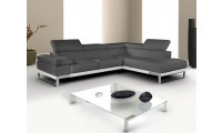Nicoletti Domus Sectional Sofa in Grey Italian Leather
