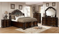Niketas Bedroom Set in Brown Cherry with Marble Tops