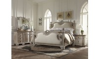 Orleans Poster Bedroom Set in Weathered White Finish