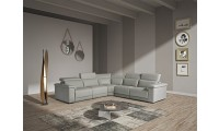 Estro Salotti Palinuro Reclining Sectional Sofa in Grey Leather