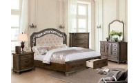 Persephone Bedroom Set in Rustic Natural with Storage Bed