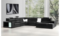 Divani Casa Polaris Large Sectional Sofa in Black Leather