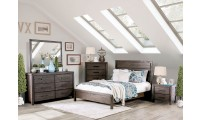 Rexburg Modern Bedroom Set in Wire Brushed Rustic Brown