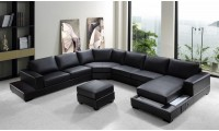 Divani Casa Ritz Sectional Sofa in Black Leather U Shape