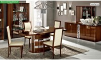 Roma Italian Dining Room Set in Walnut Lacquer