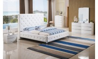 Rome White Bedroom Set with Upholstered White Bed