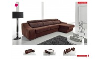 Ronaldo Sleeper Sectional Sofa in Brown Fabric