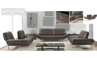 Roxi Chocolate Brown Italian Contemporary Leather Sofa Loveseat or Chair Set