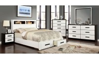 Rutger Modern Bedroom Set in White and Black