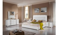 Modrest San Marino Italian Bedroom Set in White Lacquer