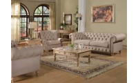 Shantoria Living Room Set in Beige Linen Fabric