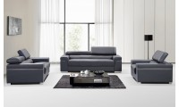 Soho Living Room Set in Grey Modern Leather