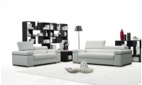 Soho Modern Living Room Set in White Leather