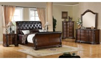 South Yorkshire Bedroom Set in Cherry Finish with Sleigh Bed