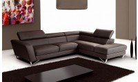 Sparta Italian Leather Sectional Sofa in Brown