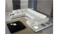 T35 White Leather Modern Large Sectional Sofa with Lights & End Tables
