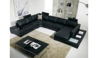 T35 Black Leather Modern Large Sectional Sofa with Lights & End Tables