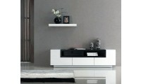 White Gloss Dark Oak Modern Wall Unit TV Stand