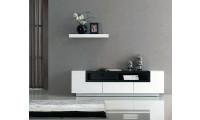 White Gloss Dark Oak Modern Wall Unit TV Stand