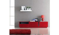 T027 Contemporary Long TV Stand in Red Gloss Finish