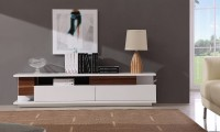 TV061 Large TV Stand in White and Walnut Finish