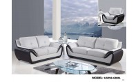U3250 Living Room Set in Grey and Black Leather by Global