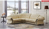 Apolo Classic Sectional Sofa in Ivory Italian Leather