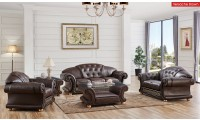 Versace Living Room Set in Brown Italian Leather