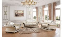 Apolo Living Room Set in Pearl Italian Leather