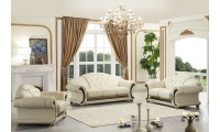 Apolo Living Room Set in Ivory Italian Leather