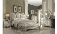 Versailles Bedroom Set in Bone White Finish and Ivory Upholstery