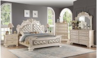 Cosmos Furniture Victoria Traditional Bedroom Set in Antique White