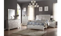 Voeville II Bedroom Set in Platinum and Leather Headboard