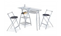 Cafe G Modern Bar Set - Features Folding Stools